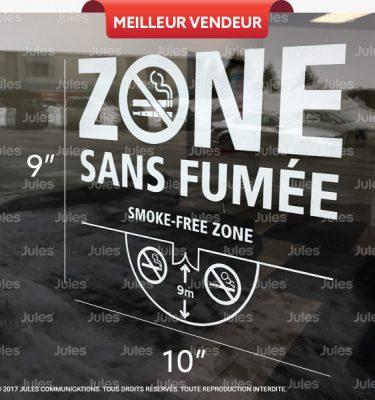 AUTOCOLLANT DÉFENSE DE FUMER, AUTOCOLLANT ZONE SANS FUMÉE, LOI 44, INTERDIT DE FUMER ET DE VAPOTER, LOI SUR LE TABAC, DISTANCE POUR FUMER 9 MÈTRES, PICTOGRAMME NON-FUMEUR ET CIGARETTE ÉLECTRONIQUE, LOI ANTI TABAC, 9-METRE RADIUS TOBACCO ACT, SMOKE-FREE ZONE